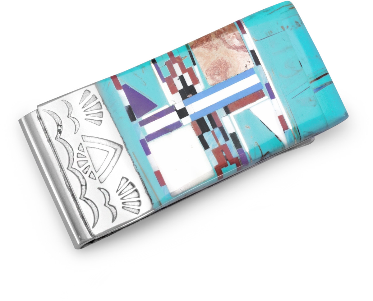 316L Stainless steel money clip with multicolor inlay simulated stones