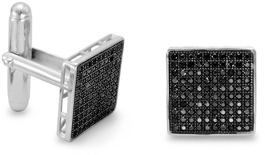 Rhodium Plated Black Pave CZ Cuff Links 925 Sterling Silver