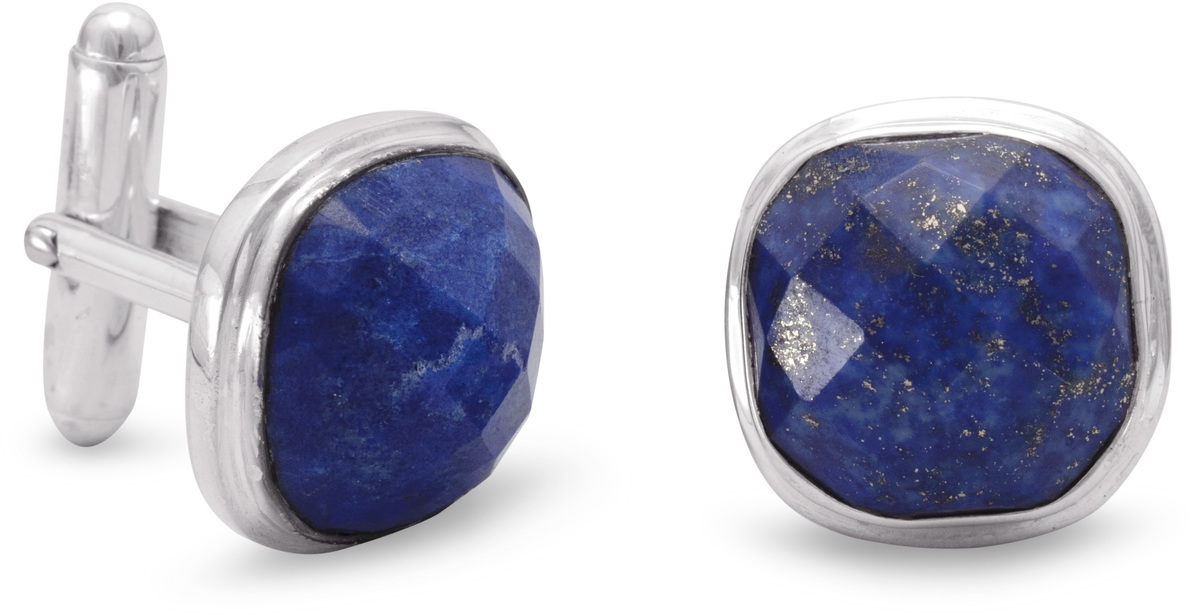 Lapis Cuff Links 925 Sterling Silver