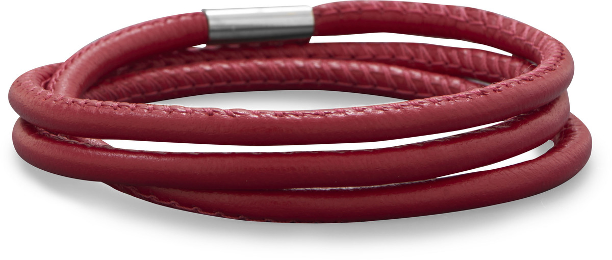 Triple Wrap Candy Apple Red Leather Bracelet