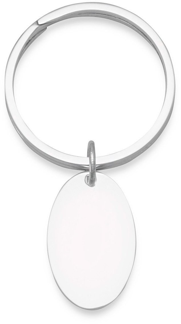 Key Ring with Oval Engravable Tag 925 Sterling Silver