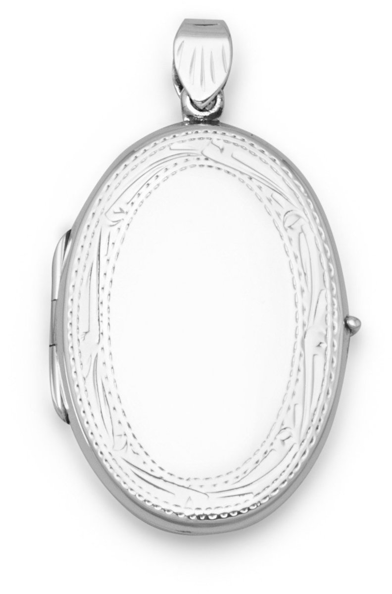 Flat Oval Etched Edge Locket 925 Sterling Silver
