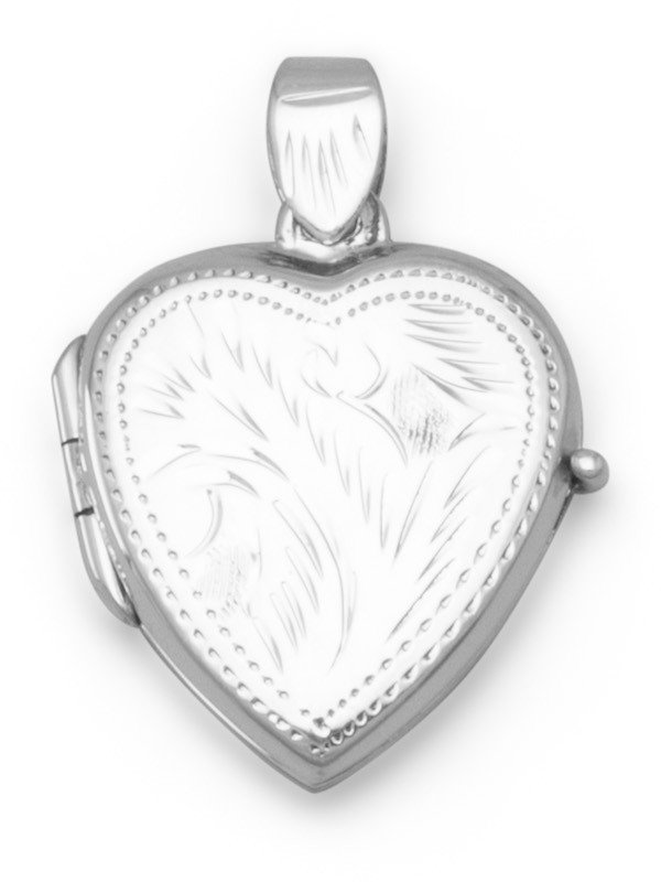Small Etched Heart Locket 925 Sterling Silver