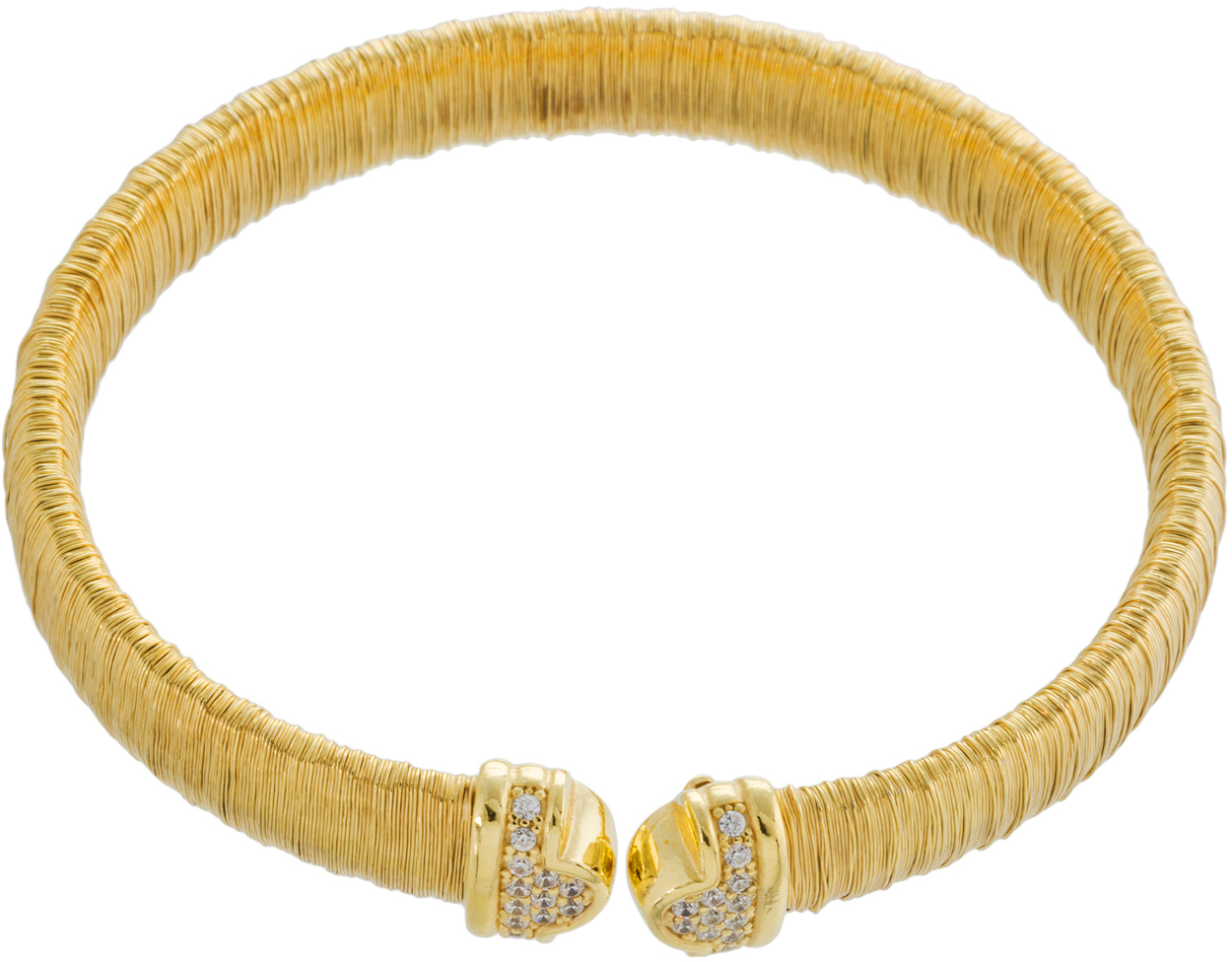 Athra Luxe - Gold Plated Sterling Silver Textured Crystal Accent Cuff Bracelet
