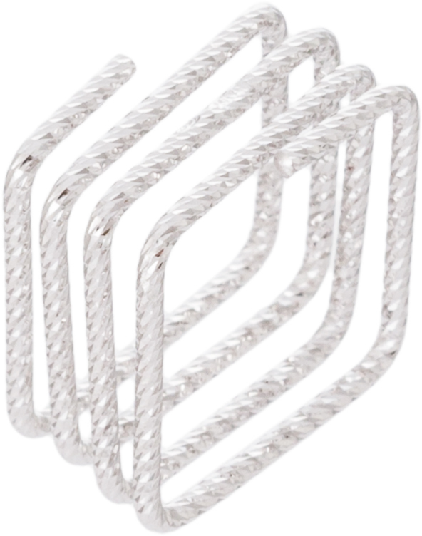 Athra Luxe - Sterling Silver Diamond-Cut Square Multi Row Ring