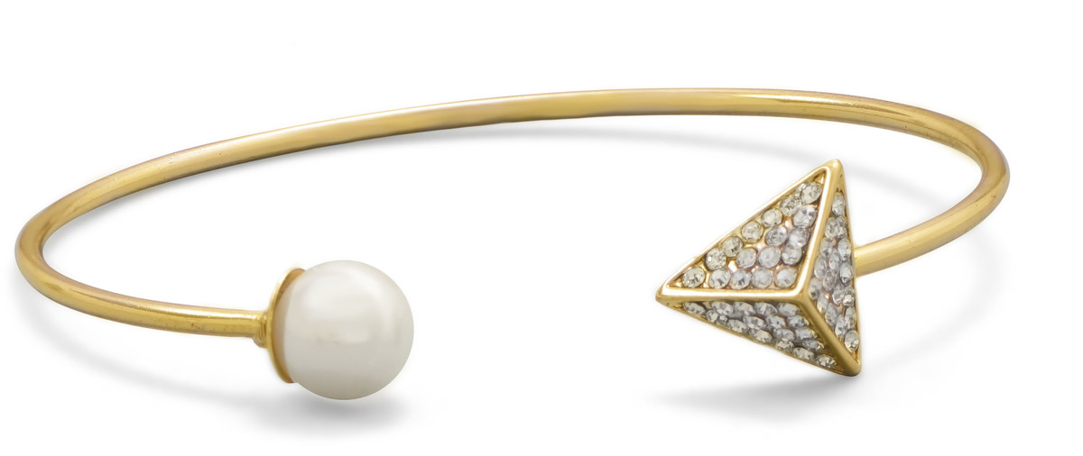 Gold Tone Fashion Cuff Bracelet with Simulated Pearl and Synthetic Crystal Ends