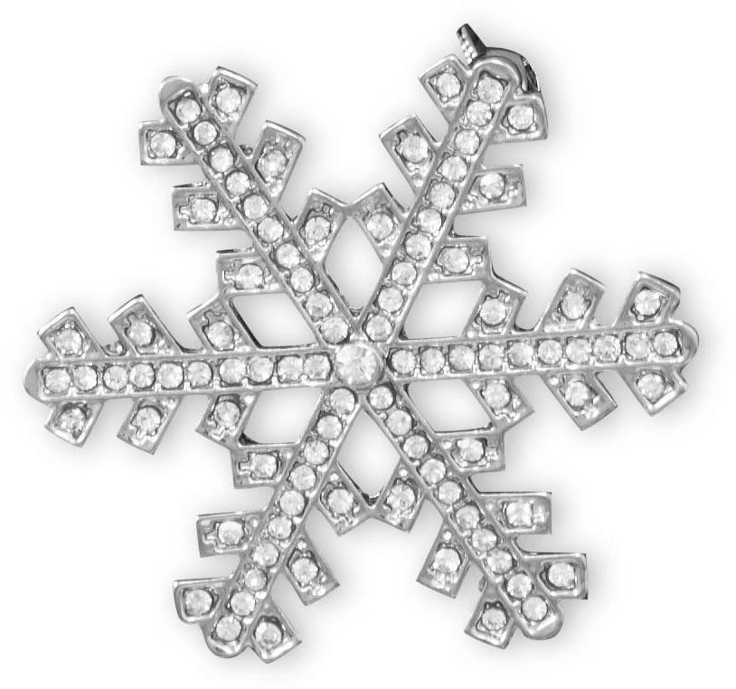 Silver Tone Synthetic Crystal Snowflake Fashion Pin
