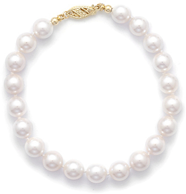 "8"" 7-7.5mm (0.28""-0.3"") Grade AA Cultured Akoya Pearl Bracelet individually knotted with a 14K Yellow Gold Clasp"