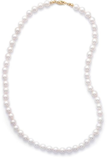 "20"" 7-7.5mm (0.28""-0.3"") Grade AA Cultured Akoya Pearl Necklace individually knotted with a 14K Yellow Gold Clasp"