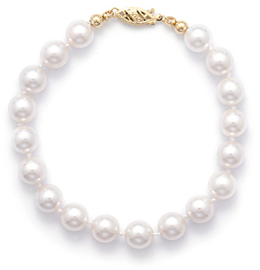 "7"" 7.5-8mm (0.3""-0.31"") Grade AAA Cultured Akoya Pearl Bracelet individually knotted with a 14K Yellow Gold Clasp"