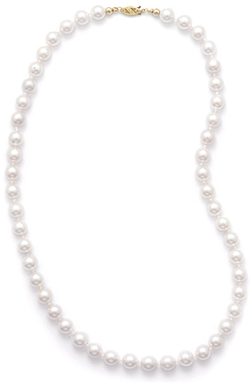 "16"" 7.5-8mm Grade AA Cultured Akoya Pearl Necklace individually knotted with a 14K Yellow Gold Clasp"