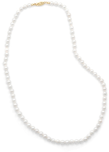 "20"" 5-5.5mm (0.2""-0.22"") Cultured Freshwater Pearl Necklace Individually Knotted with a 14K Yellow Gold Clasp"