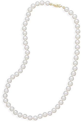 "30"" 5.5-6mm (0.22""-0.24"") Cultured Freshwater Pearl Necklace Individually Knotted with a 14K Yellow Gold Clasp"
