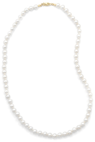 "24"" 6-6.5mm (0.24""-0.26"") Cultured Freshwater Pearl Necklace Individually Knotted with a 14K Yellow Gold Clasp"