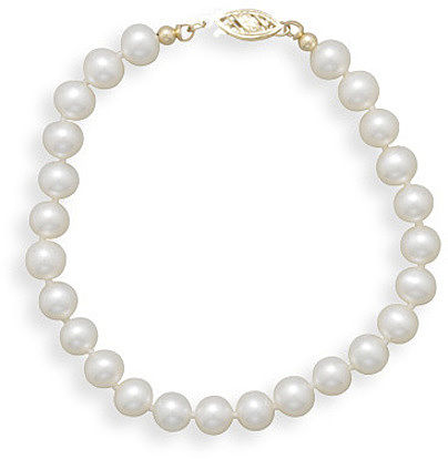 "8"" 6-6.5mm Cultured Freshwater Pearl Bracelet Individually Knotted with a 14K Yellow Gold Clasp - DISCONTINUED"