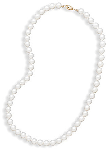 "30"" 6.5-7mm (0.26""-0.28"") Cultured Freshwater Pearl Necklace Individually Knotted with a 14K Yellow Gold Clasp"