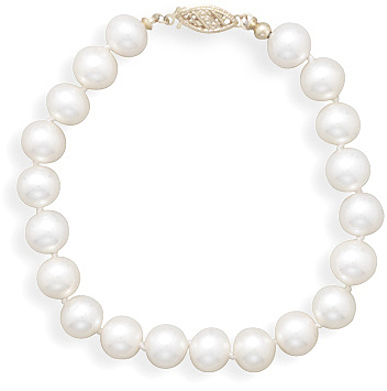 "7"" 7-7.5mm (0.28""-0.3"") Cultured Freshwater Pearl Bracelet Individually Knotted with a 14K Yellow Gold Clasp"