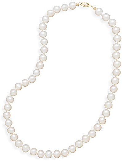 "24"" 7.5-8mm Cultured Freshwater Pearl Necklace Individually Knotted with a 14K Yellow Gold Clasp - DISCONTINUED"