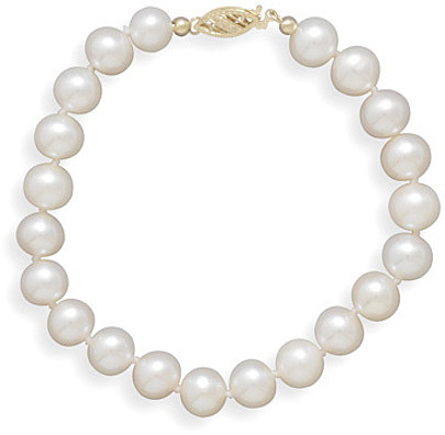 "8"" 7.5-8mm (0.3""-0.31"") Cultured Freshwater Pearl Bracelet Individually Knotted with a 14K Yellow Gold Clasp"
