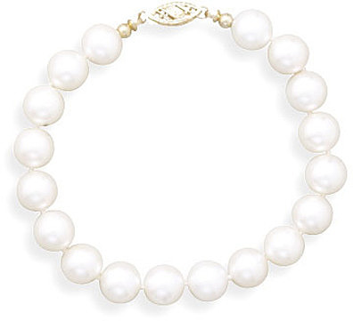 "7"" 8-8.5mm (0.31""-0.33"") Cultured Freshwater Pearl Bracelet Individually Knotted with a 14K Yellow Gold Clasp"