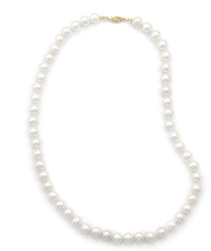 "24"" 8.5-9mm (0.33""-0.35"") Cultured Freshwater Pearl Necklace Individually Knotted with a 14K Yellow Gold Clasp"