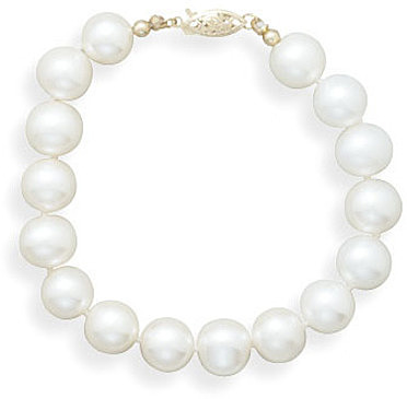 "7"" 8.5-9mm (0.33""-0.35"") Cultured Freshwater Pearl Bracelet Individually Knotted with a 14K Yellow Gold Clasp"