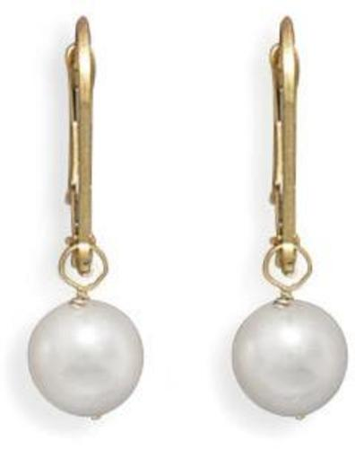 "Grade AAA 6.5-7mm (0.26""-0.28"") Cultured Akoya Pearl Drop Earrings with Yellow Gold Lever Backs"