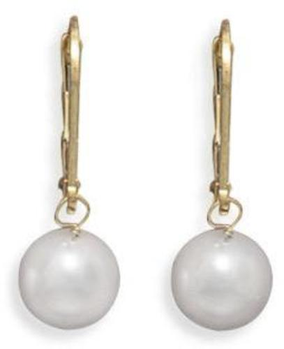 "Grade AAA 7.5-8mm (0.3""-0.31"") Cultured Akoya Pearl Drop Earrings with Yellow Gold Lever Backs"