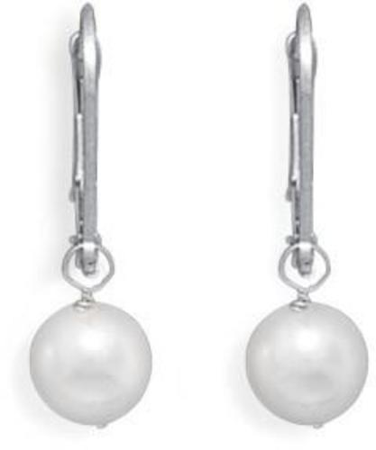 "Grade AAA 6.5-7mm (0.26""-0.28"") Cultured Akoya Pearl Drop Earrings with White Gold Lever Backs"