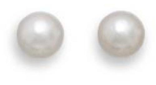 "Grade AAA 4.5-5mm (0.18""-0.2"") Cultured Akoya Pearl Earrings with White Gold Posts and Earring Backs"