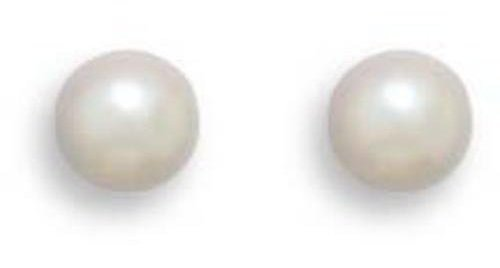 "Grade AAA 5-5.5mm (0.2""-0.22"") Cultured Akoya Pearl Earrings with White Gold Posts and Earring Backs"