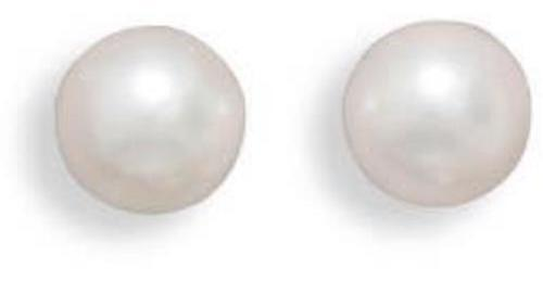 "Grade AAA 7-7.5mm (0.28""-0.3"") Cultured Akoya Pearl Earrings with White Gold Posts and Earring Backs"