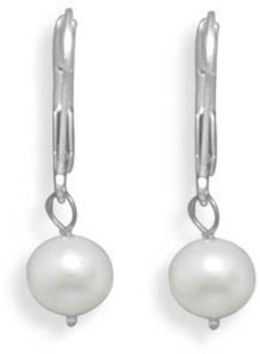 "6.5-7mm (0.26""-0.28"") Freshwater Pearl Drop Earrings with White Gold Lever Back"