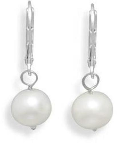 "8.5-9mm (0.33""-0.35"") Freshwater Pearl Drop Earrings with White Gold Lever Back"