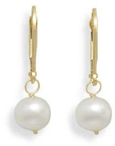"6.5-7mm (0.26""-0.28"") Freshwater Pearl Drop Earrings with Yellow Gold Lever Back"