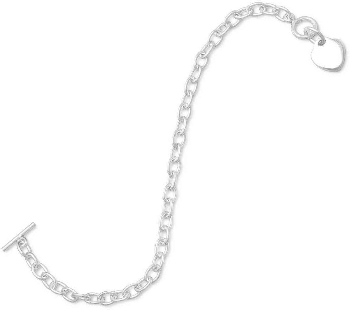 "7.5"" Small Round Link Bracelet with Heart Tag 925 Sterling Silver"