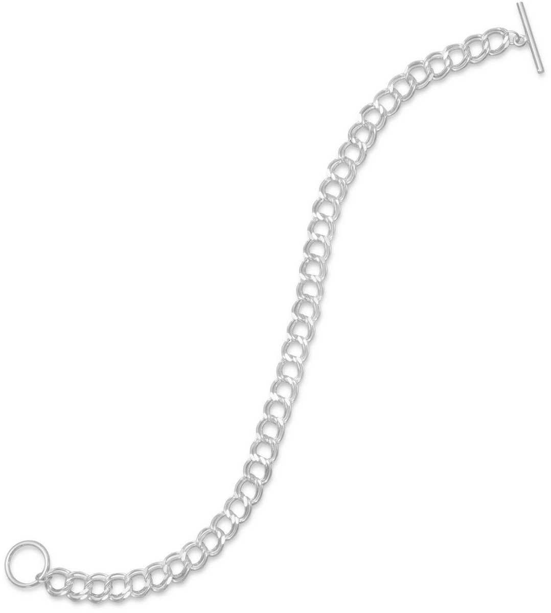"7.5"" Diamond Cut Toggle Charm Bracelet 925 Sterling Silver"