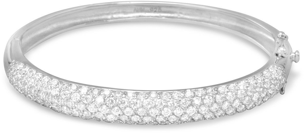 Pave CZ Bangle 925 Sterling Silver
