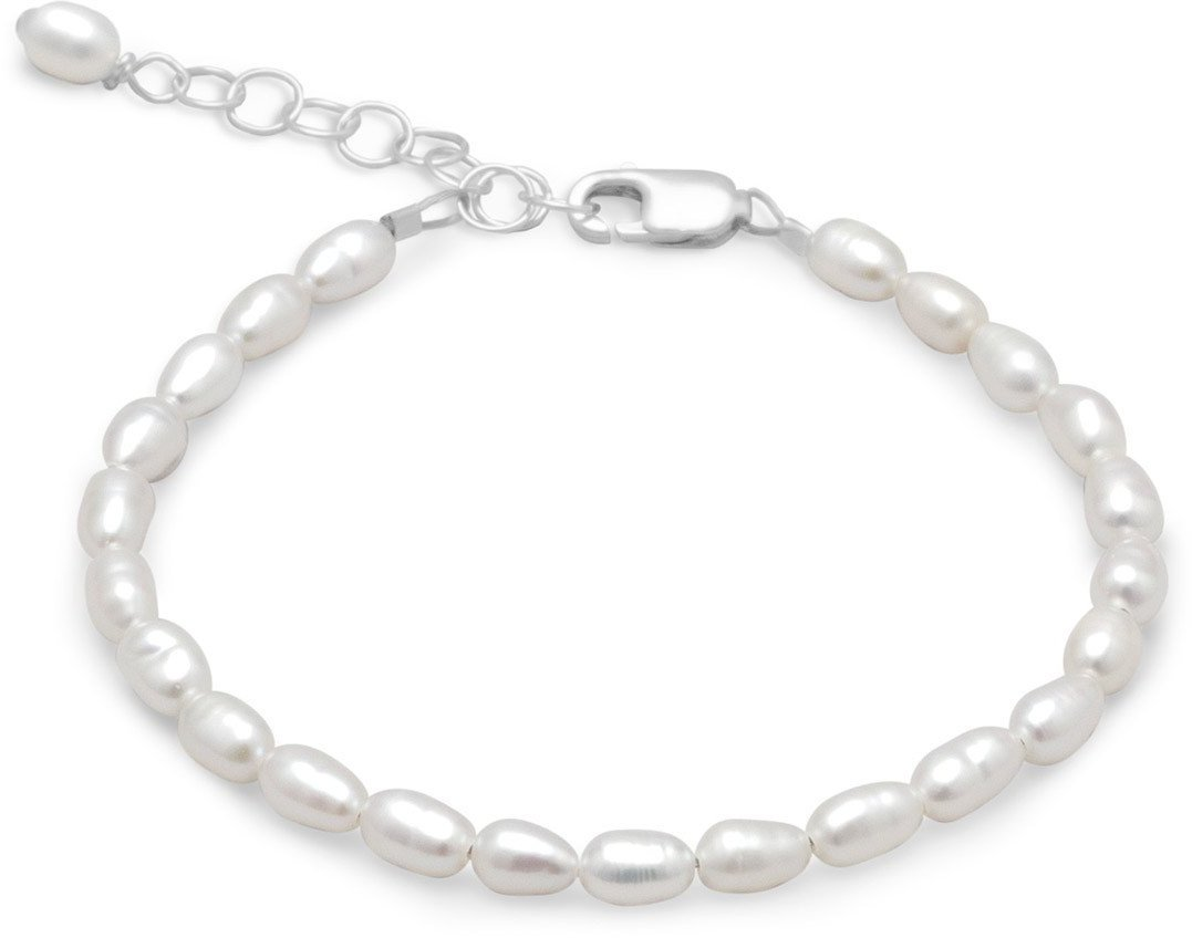 "5"" + 1"" Extension White Rice Cultured Freshwater Pearl Bracelet 925 Sterling Silver"