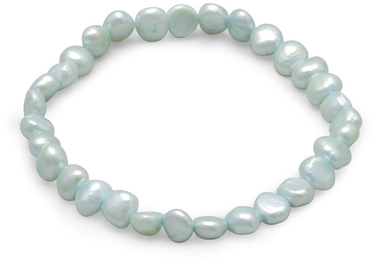 Blue Cultured Freshwater Pearl Stretch Bracelet