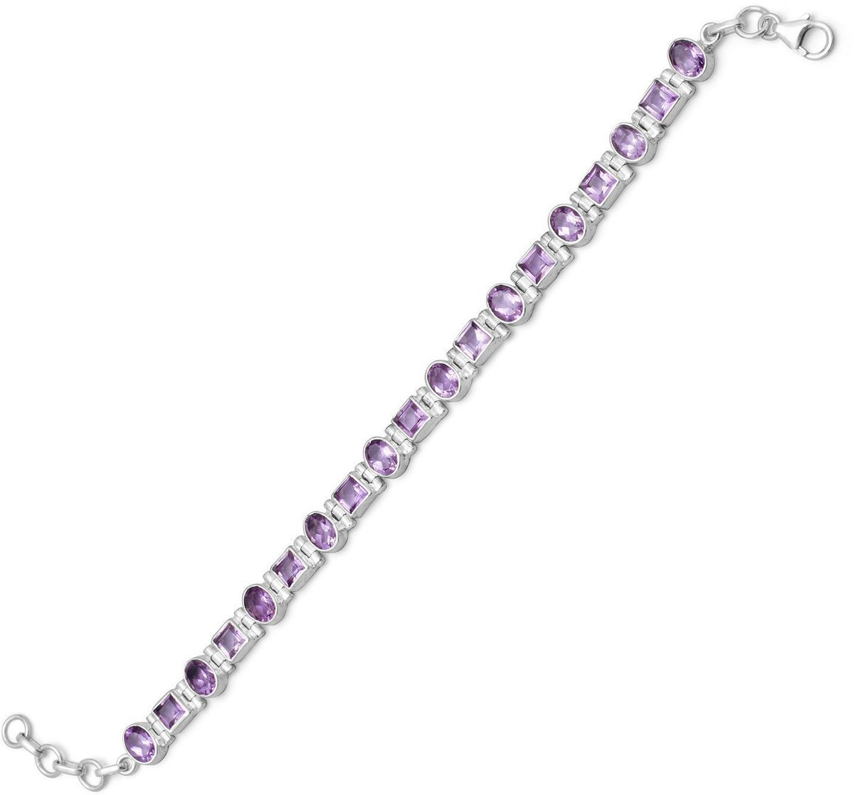 "7""+1""Extension Bracelet with Square and Oval Amethyst 925 Sterling Silver - LIMITED STOCK"