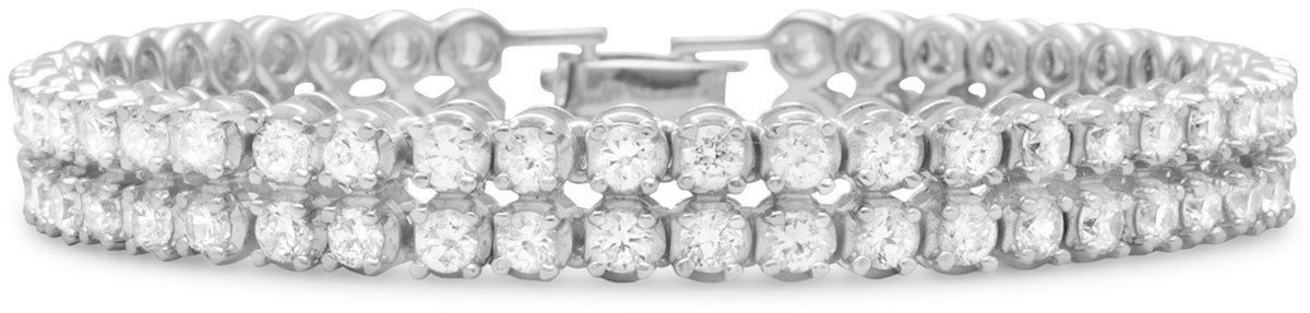"7.5"" Rhodium Plated 2 Row 4mm (1/6"") CZ Bracelet 925 Sterling Silver"