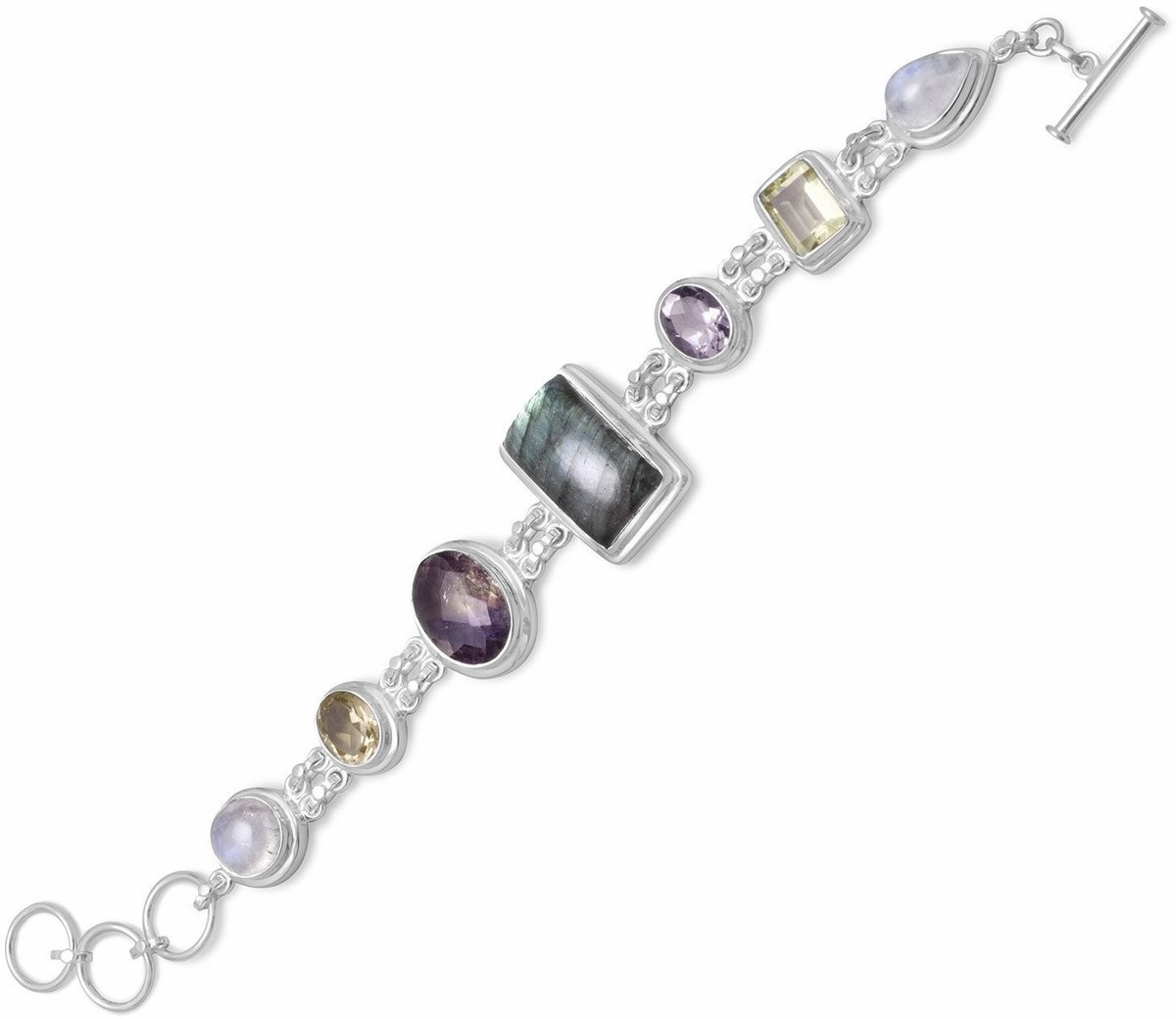 "7.5""+1""Extension Toggle Bracelet Featuring Moonstone, Labrodorite, Lemon Quartz,Amethyst and Citrine 925 Sterling Silver"