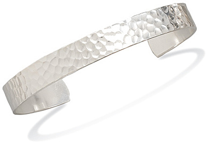 "9.5mm (3/8"") Hammered Mens Cuff Bracelet 925 Sterling Silver - LIMITED STOCK"