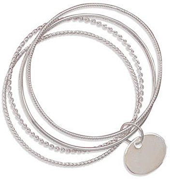 4 Bangle Bracelets with an Oval Engravable Tag 925 Sterling Silver