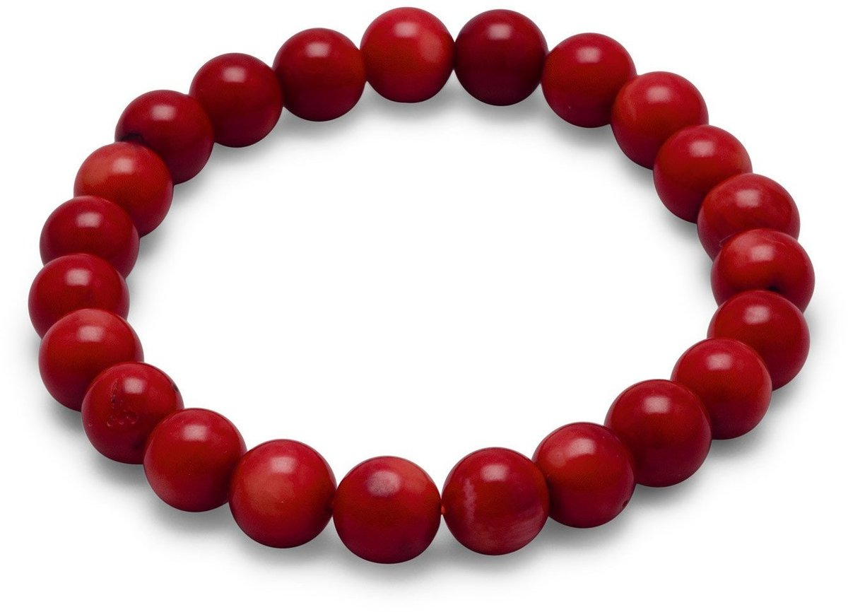 "8mm (1/3"") Red Coral Bead Stretch Bracelet"