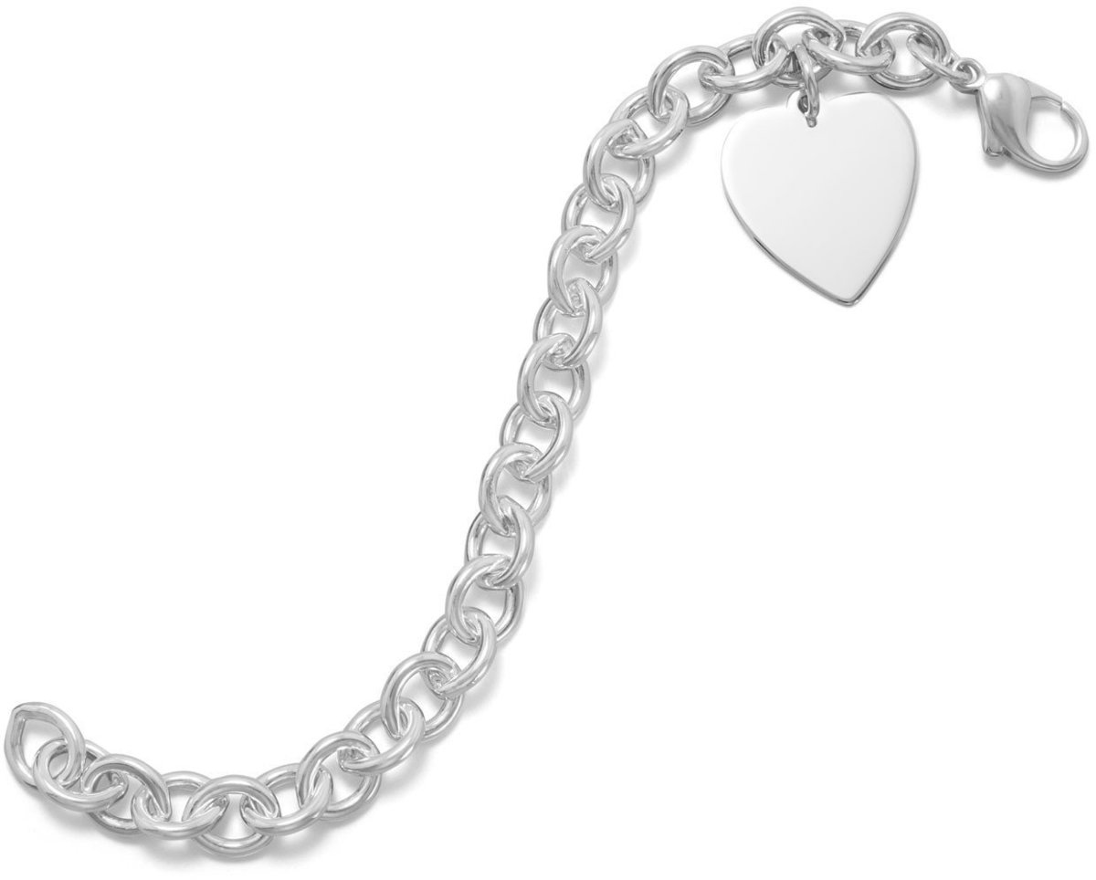 "7.5"" Cable Bracelet with 21mm (5/6"") Heart 925 Sterling Silver"