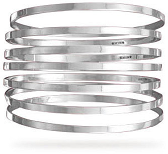 "7 8"" Flat Bangles 925 Sterling Silver"