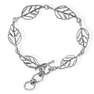 "7""+1""Extension Leaf Link Toggle Bracelet 925 Sterling Silver - DISCONTINUED"