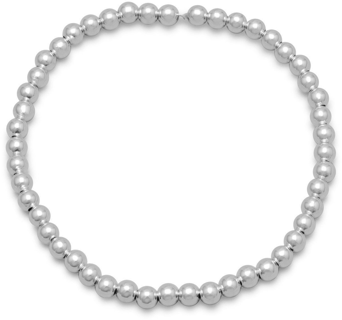 "7"" 4mm (1/6"") Sterling Silver Bead Stretch Bracelet"